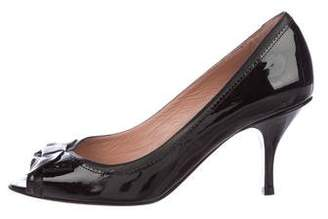 RED Valentino Patent Leather Peep-Toe Pumps