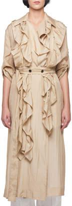 Victoria Beckham Silk Habutai Belted Long Ruffled Trench Coat