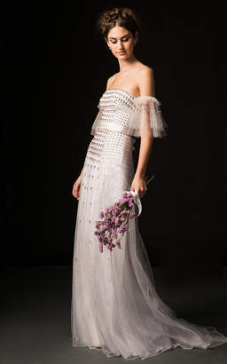 Temperley London Bridal Orelia Off Shoulder Gown with Cascading Jewel Embroidery