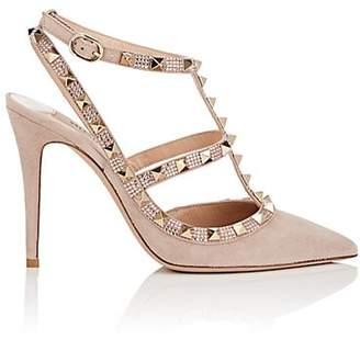 Valentino Women's Rockstud Suede Ankle-Strap Pumps - Nudeflesh