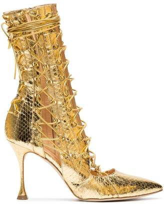Liudmila Gold Drury Lane 100 Snakeskin Lace Up Boots