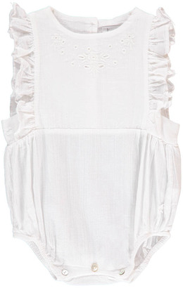 TOCOTO VINTAGE Embroidered Crepe Romper $91.20 thestylecure.com
