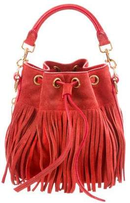 Saint Laurent Suede Emmanuelle Fringe Bucket Bag