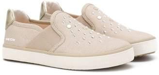 Geox Kids gem embellishment slip-on trainers