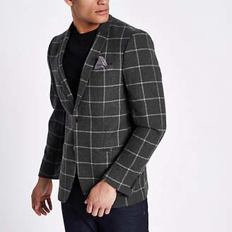 River Island Dark grey window check skinny fit blazer