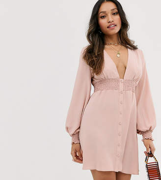 Asos DESIGN Petite long sleeve button through mini dress with shirred waist
