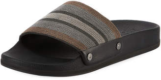 Brunello Cucinelli Striped Monili Pool Slide Sandal