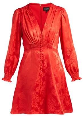 Saloni Eve Floral Jacquard Silk Dress - Womens - Red