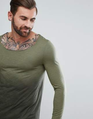 Asos DESIGN Longline Long Sleeve T-Shirt With Raw Scoop Neck And Dip Dye In Khaki