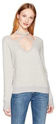 Pam & Gela Women's Rib Cross Neck Sweatshirt