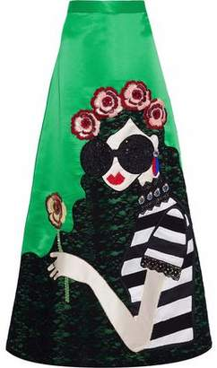 Alice + Olivia Embellished Lace-appliqued Satin And Twill Flared Maxi Skirt