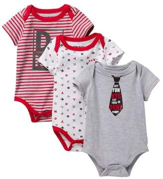 DKNY Little Me Assorted Bodysuits - Pack of 3 (Baby Boys 0-9M)