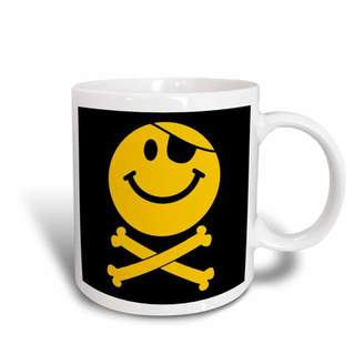 3dRose Pirate Smiley Face - Yellow Jolly Roger flag skull and crossbones smilie with eye patch, Ceramic Mug, 11-ounce