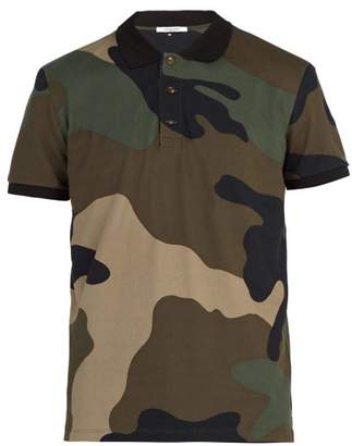 Valentino Enlarged Camouflage Print Cotton Pique Polo Shirt - Mens - Green