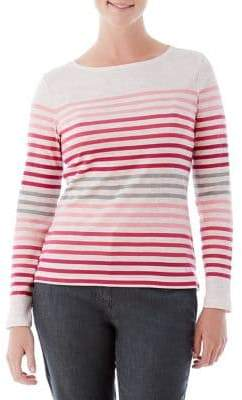 Olsen Berry Love Mixed Stripe Boatneck Tee
