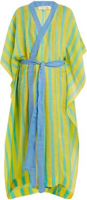 Diane von Furstenberg Striped linen-blend wrap kaftan