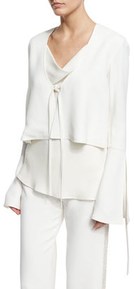 Derek Lam Fluted-Sleeve Cropped Jacket, Ivory $1,995 thestylecure.com