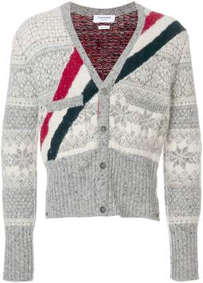 Thom Browne Winter Fair Isle Tweed V-Neck Cardigan