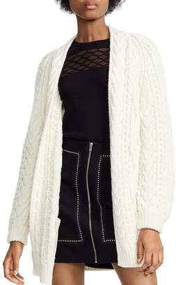 Maje Mouffle Cable-Knit Cardigan