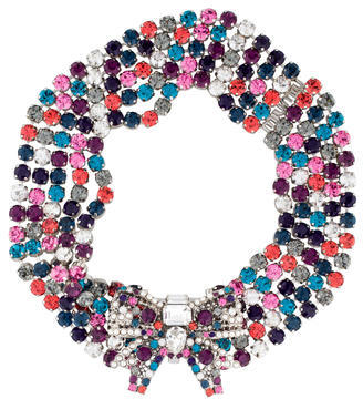 Miu MiuMiu Miu Crystal Bow Collar Necklace