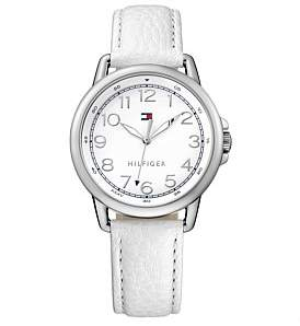 Tommy Hilfiger Ladies Casey Rnd 3 Hand Wht Dial Wht Leather Strap