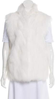 Adrienne Landau Fox Fur Funnel Collar Vest