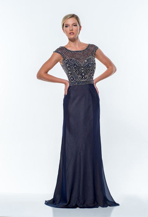 Terani Couture - 151M0354A Illusion Net Embellished Sheath Gown