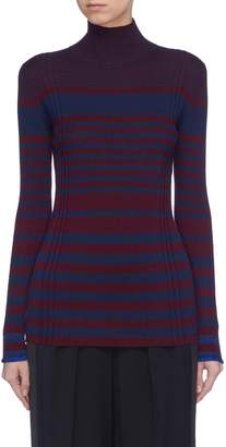 Victoria Beckham VICTORIA, Variegated stripe ribbed wool blend turtleneck sweater