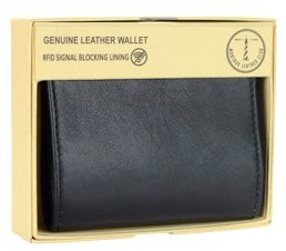 Montauk Leather Club Men's RFID Signal Blocking Genuine Leather L-Fold Wallet with Gift Box