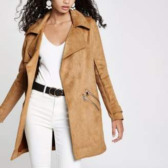 River Island Womens Camel faux suede trench coat