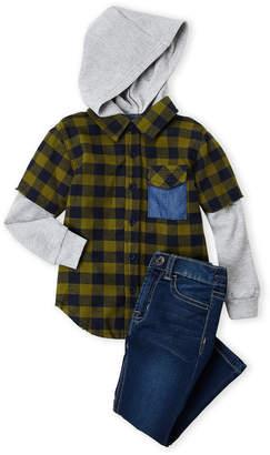 Hudson Toddler Boys) Two-Piece Hooded 2fer Shirt & Jeans Set