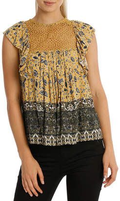 Top Print And Lace Short Sleeve