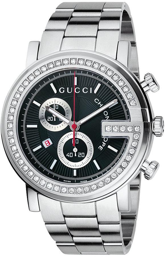 Gucci Watch, Unisex G Chrono Collection Stainless Steel Diamond Bezel Bracelet (3/4 ct. t.w.) 44mm YA101324