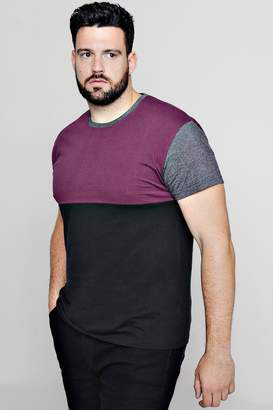 boohoo Big And Tall Colour Block T-Shirt