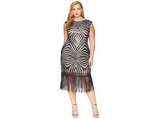 Unique Vintage Plus Size Sequin Fringe Sandrine Flapper Dress