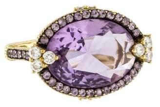 Judith Ripka 18K Amethyst, Sapphire & Diamond Ring