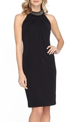 Women's Tahari Jewel Neck Crepe Sheath Dress $138 thestylecure.com