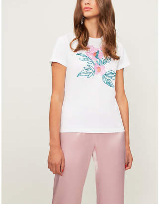 Mary Katrantzou Floral-embroidered cotton-jersey T-shirt