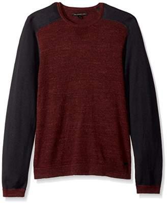 John Varvatos Men's Saddle Shoulder Crewneck Sweater