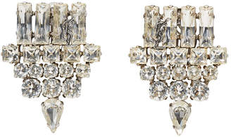 Saint Laurent Silver Smoking Strass Clip-On Earrings