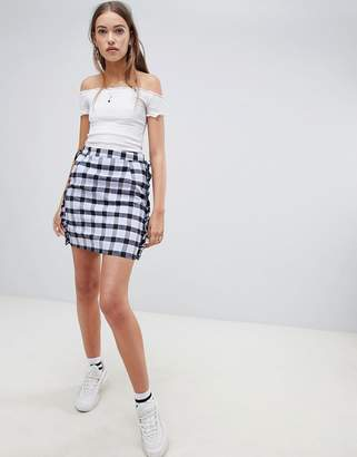 Daisy Street Checked Skirt with Frill Detail