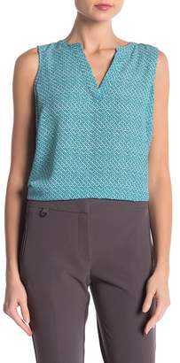 Adrianna Papell Sleeveless Split Neck Crepe Blouse