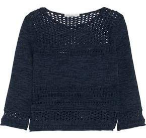 Autumn Cashmere Open Knit-Paneled Cotton Sweater