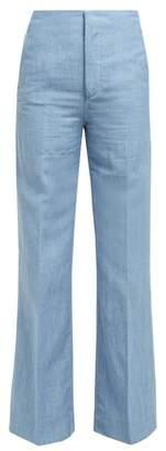 Joseph Kirk High Rise Linen Blend Wide Leg Trousers - Womens - Blue