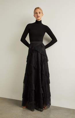 BCBGMAXAZRIA Lace Ruffled Maxi Skirt