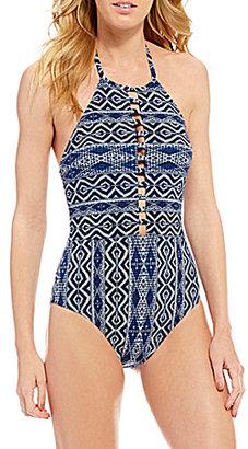 La Blanca Designer Jeans High Neck Ladder-Front Tummy Toner One-Piece $119 thestylecure.com