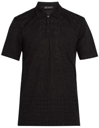 Versace Baroque Logo Jacquard Polo Shirt - Mens - Black