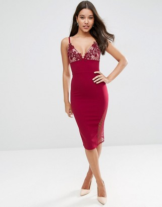 ASOS Lace Cup Dobby Midi Bodycon Scuba Dress $61 thestylecure.com