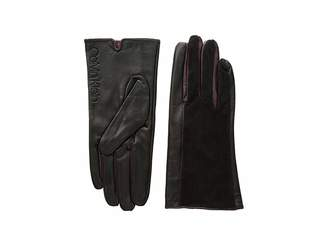 Calvin Klein Leather/Suede Gloves w/ Pop Color Fourchettes
