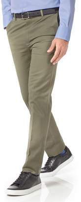 Charles Tyrwhitt Olive Extra Slim Fit Flat Front Non-Iron Cotton Chino Pants Size W30 L30